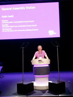 JDJ presenting the Public Health motion at the LGA conference in Bournmouth