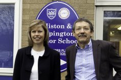 JDJ and Lesley Birch, Exec Head at Cambridge Primary Education Trust. CCC has just approved £16million to build a new school and to refurbish the existing Junior School.