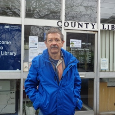 JDJ outside Histon library. I look rather glum so I guess this was before we got the lease renewed.