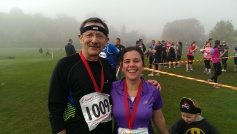 JDJ with Angela Legge after completing the 10k Bonfire Burn. I was chuffed to finish in just under an hour. Angela was a little faster.